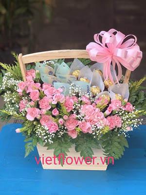 Giỏ hoa socola và tiền HBT004