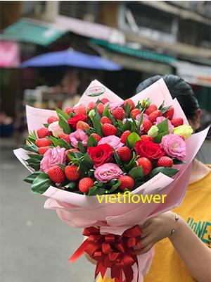 Bó hoa trái cây hoa hồng - THH1