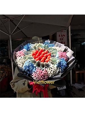 Bó hoa tiền kết hợp dâu tây - TDT111
