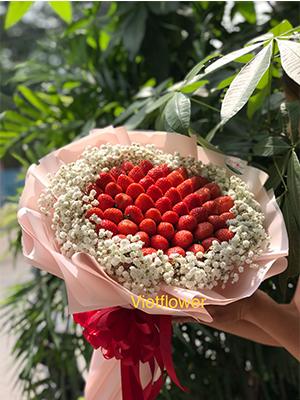 Bó hoa dâu tây giấy hồng - TH1